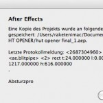 Fehlermeldung After Effects