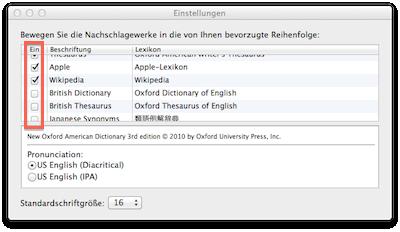 Wörterbücher aktivieren